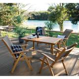 伸長式ウッドテーブル&チェア 5点セット(テーブル+リクライニングチェア×4) 写真