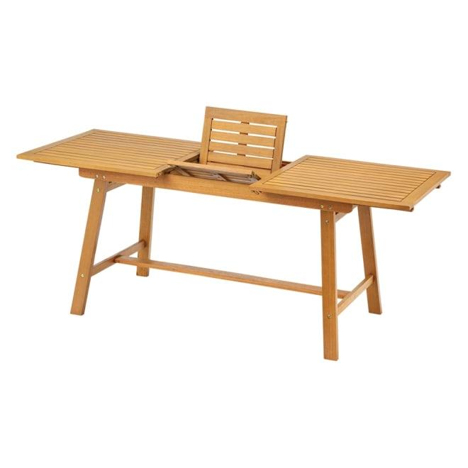 伸長式ウッドテーブル 普段は幅140cmの程よいサイズで、人が増えたら簡単な操作でワイドな180cmのパーティーサイズに。