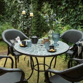 グリーンモザイクテーブル&チェア5点セット(テーブル径90+チェア2脚組×2) 写真