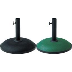 ウッド支柱パラソル&ベース パラソルベース 11kgの重さでパラソルをしっかり支えるコンクリート製。 装飾のないシンプルなデザインは、どんなテーブルにもマッチします。左から(ア)ブラック (イ)グリーン