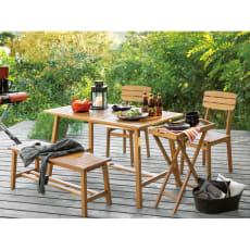 ユーカリテーブル&チェア 長方形4点セット(ダイニングテーブル長方形+ベンチ+チェア×2)