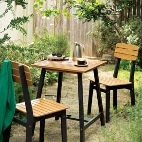 ユーカリテーブル&チェア 正方形3点セット(ダイニングテーブル正方形+チェア×2) 写真