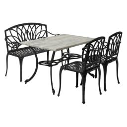 g-STYLEテーブル&チェア コンクリート調4点セット お届けの4点セットです。 コンクリート調テーブルに鋳物ベンチを組み合わせた、笑顔の語らいが弾むくつろぎスタイル。