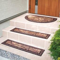 ドイツ製玄関&階段マット 玄関マット (ア)ブラウン※お届けは奥の半円形の玄関マットです。