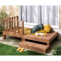 人工木デッキフェンス付き ステップ (ア)ライトブラウン 1畳セット 木風のやさしい質感で腐食に強く、表面がササクレにくいのでお子さまやペットも安心なのもポイント。