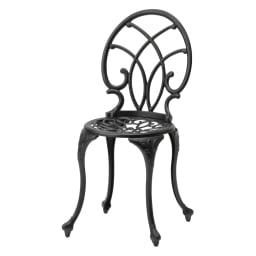 大理石調コンパクトテーブル&チェア 3点セット (イ)ブラック フレームはサビに強く軽量なアルミ製。