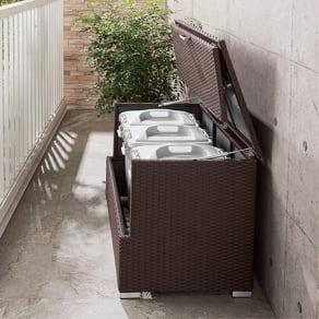組立不要 ラタン調ゴミ保管庫 幅100cm ペール3個付き 写真