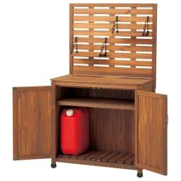 木製棚付き収納庫幅80cm (ア)ブラウン