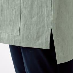 吉谷桂子先生デザイン 麻のスモック 裾丈は後ろ側が長く、ヒップが隠せて安心。