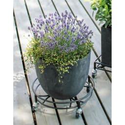 アートストーンプランター エッグL (イ)グレー 08~14キャスター付き鉢台と合わせれば、鉢に土を入れても移動ラクラク。