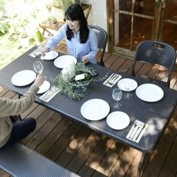折りたたみ作業台シリーズ テーブル ラタン調 お届けはテーブルのみとなります