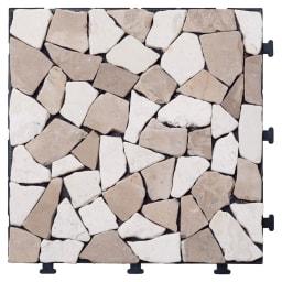 ジョイント式タイルマット お得な30枚組 (イ)ベージュ  天然石のため、色や形が異なります