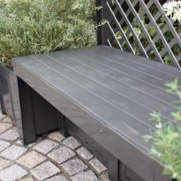 ドイツKHW社製 トレリス&プランターベンチ 座ってもよし、飾り棚にも素敵なベンチボード。