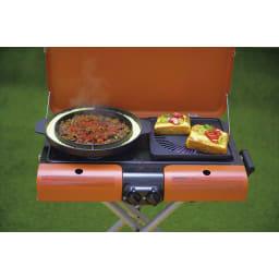 IWATANI カセットガススタンドBBQグリル(グリルスター) 片方は鍋料理、片方はプレート料理にも。