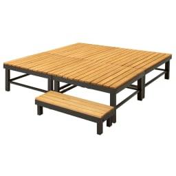 天然木アルミフレームデッキ 1.0坪セット 幅90奥行90デッキ4点+踏み台1点のお得な5点セットです。