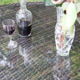 ガラス&ウィッカーシリーズ ラウンド大テーブル