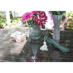 ガラス&ウィッカーシリーズ オーバルテーブル