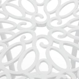 ホワイトクラシカル5点セット(テーブル×1、チェア2脚組×2) 径約4cmのパラソルホール付き