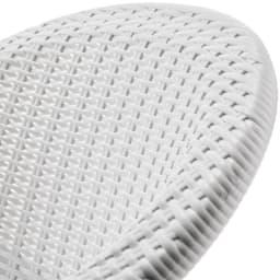 ホワイトクラシカル5点セット(テーブル×1、チェア2脚組×2) 繊細なラタン風編み仕上げが描く、優雅な曲線美。