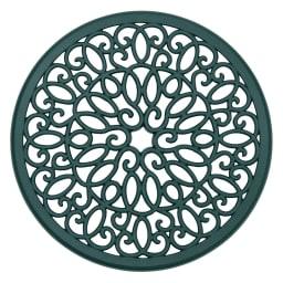 グリーンアルミ鋳物3点セット(テーブル×1、チェア×2) 彫刻的な紋様が美しい、テーブル天板。