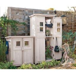 木製薄型収納庫 高さ92cm 使用イメージ