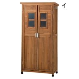 木製薄型収納庫 高さ160cm (イ)ブラウン