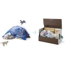 ガルバ製ゴミ保管庫 レギュラータイプ 幅69奥行55cmペール付き フタ付きの保管庫なら、ゴミをすっきりと隠せて風で乱れるのを防ぐことができ、さらにカラスやネコ対策もできて、まさに一石二鳥です。