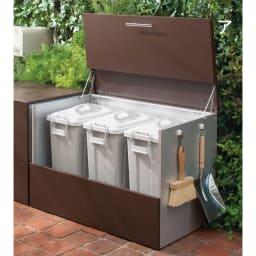 ガルバ製ゴミ保管庫 レギュラータイプ 幅100奥行55cmペール付き