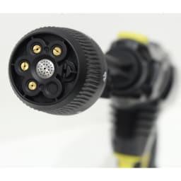 ノズル充実!どこでも水圧洗浄散水機 水流ノズルの水流は直流/放射状/シャワーなど6種から選べます。