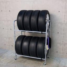 伸縮式タイヤラック カバー付き (ア)シルバー