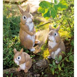 リアルほっぺウサギ 3匹組 3匹組 目を大きく開いた表情がそっくりで微笑ましい、仲良し家族。