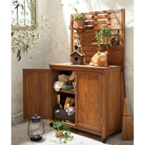木製棚付き収納庫幅80cm 写真