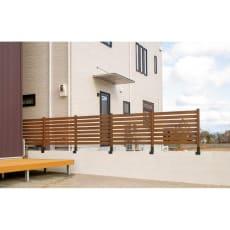 木目調アルミボーダーフェンス 基本セット ブロックまたぎ10cm