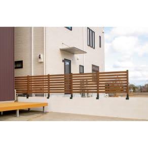 木目調アルミボーダーフェンス 基本セット コンクリート用 写真