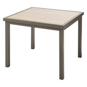 木目グレーアルミファニチャー 正方形テーブル 写真