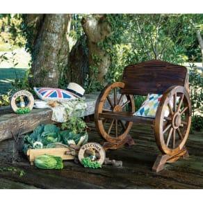 車輪デザインベンチ 幅65cm 写真