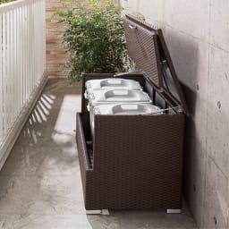 組立不要 ラタン調ゴミ保管庫 幅100cm ペール3個付き