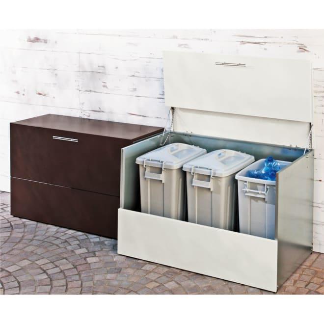 ガルバ製ゴミ保管庫 スリムタイプ 幅100奥行37cm 左から(ア)ダークブラウン、(イ)ホワイト ※お届けは左 「奥行37cmペールなしタイプ」です。