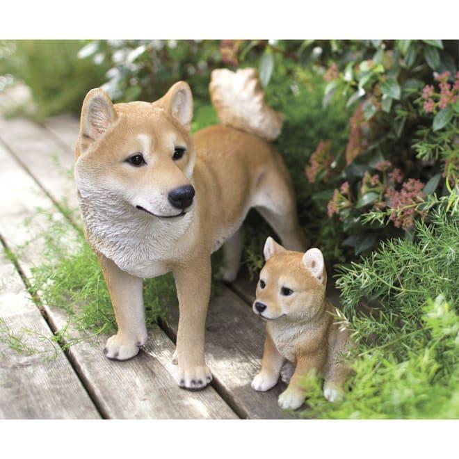 柴犬親子のオーナメント 左から母柴、子柴