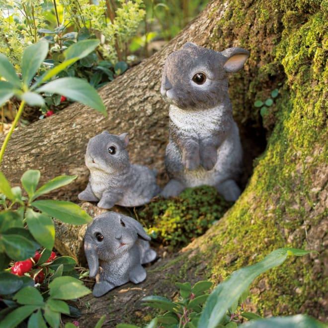 グレーほっぺウサギ 3匹組 3匹組