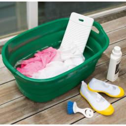 折りたたみタライ ソフトタブプラス23L (ア)グリーン。上履きをあらったり、ちょっとした洗濯物などに。