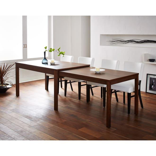 NobuII スライディング伸長式テーブル ウォルナット 長方形幅140~249.5cm 伸長時は249.5cmの大型のテーブル。片側に4名座ることができます。