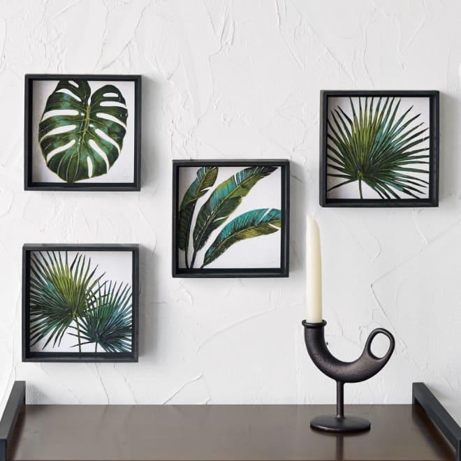 ボタニカルアートフレーム4枚セット (イ)ブラック 4枚組 絵の表面を特殊なゲルで加工し、まるで本物の油彩のように、艶やかに仕上げたアートフレーム。