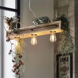 木製カフェ風ペンダントライト 3灯 写真