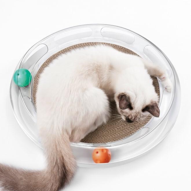 キャットスクラッチャー 透明のボディが美しいキャットスクラッチャー。段ボールくずが床に散らかりにくい設計。鈴入りとキャットニップ入りの2種のボールで猫を誘います。段ボール部分は交換可能。