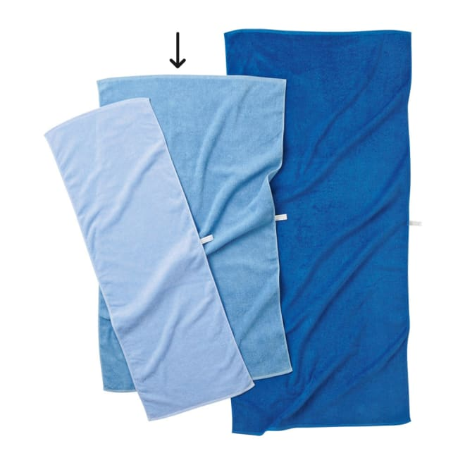Blue on Blue(ブルーオンブルー) タオル ミニバスタオル 色が選べる2枚 左からスカイブルー、マリンブルー、コバルトブルー ※お届けはミニバスタオルです。