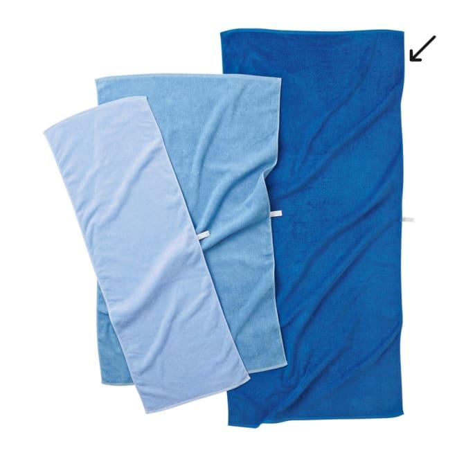 Blue on Blue(ブルーオンブルー) タオル バスタオル  各色1枚・お得な4枚セット ブルー系(左からスカイブルー、マリンブルー、コバルトブルー) ※お届けはバスタオルです。