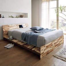 アカシア天然木 フロアベッド フレームのみ シングル幅100cm