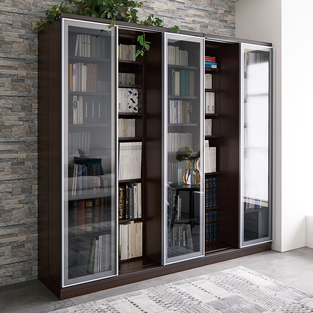Asna/アスナ モダンスライド書棚 2列幅84cmのコーディネート