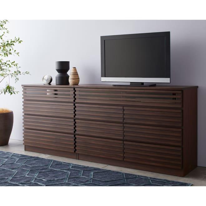 格子デザインシリーズ ハイタイプテレビ台 幅80cm コーディネート例